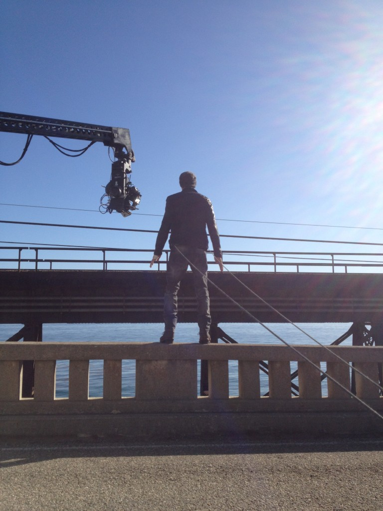 Enrique Iglesias on the Bridge for a Music Video
