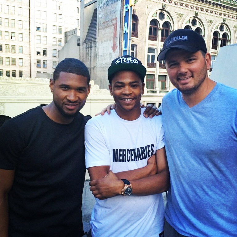 ONn set with Usher and Stuntman Ladell Preston and Stunt Coordinator TJ White