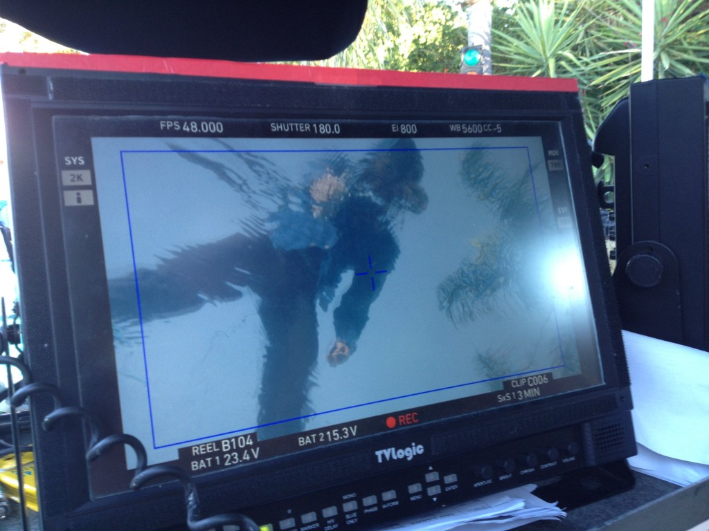 Working in the water for the film Dark Summer