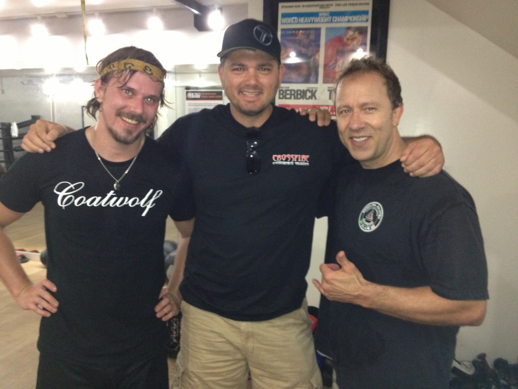 Director Jonathan Keevil with Stunt Coordinator TJ White and Fight Trainer Kelly Carter